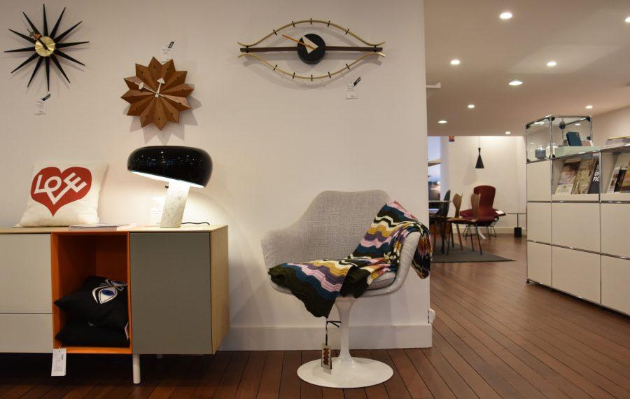 Accessoires Vitra, chaise Knoll avec plaid
